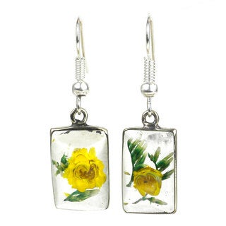 Handmade Alpaca Silver and Nahua Flower Rectangular Earrings - Artisana Jewelry (Mexico)