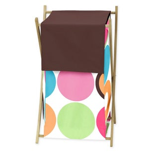 Sweet Jojo Designs Deco Dot Collection Multicolor Wood and Fabric Laundry Hamper