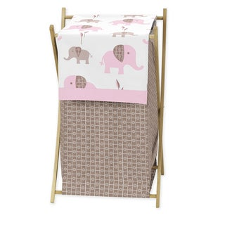 Sweet Jojo Designs Mod Elephant Collection Pink/Taupe Laundry Hamper