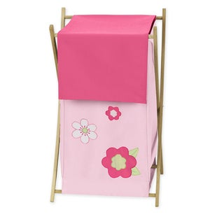 Sweet Jojo Designs Pink and Green Flower Collection 26.5-inch x 15.5-inch x 16-inch Laundry Hamper