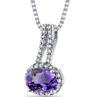 Oravo 14k White Gold Sterling Silver Amethyst and 1/6ct TDW Diamond Pendant (H-I, SI1-SI2)