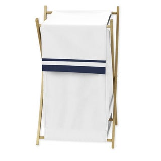 Sweet Jojo Designs White and Navy Hotel Collection Laundry Hamper