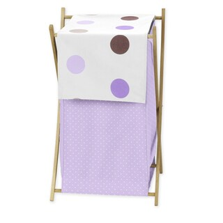 Sweet Jojo Designs Purple and Chocolate Mod Dots Collection Wood and Fabric Laundry Hamper