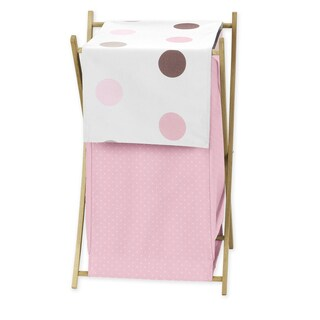 Sweet Jojo Designs Mod Dots Collection Pink and Chocolate Wood and Fabric Laundry Hamper