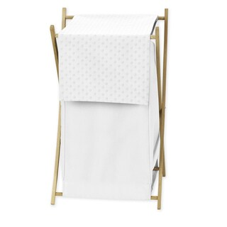 Sweet Jojo Designs White Minky Dot Collection Fabric 26.5-inch x 15.5-inch x 16-inch Laundry Hamper