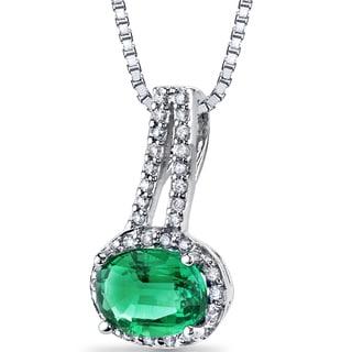 Oravo 14K White Gold Created Emerald 1/6ct TDW Diamond Pendant (H-I, SI1-SI2)