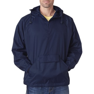 Quarter Zip Men's Big and Tall Hooded True Navy Pullover Pack-Away Jacket