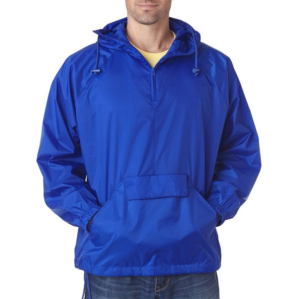 Quarter Zip Mens Big and Tall Hooded Royal Pullover Pack-Away Jacket