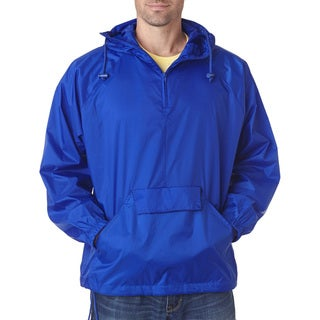 Quarter Zip Men's Big and Tall Hooded Royal Pullover Pack-Away Jacket