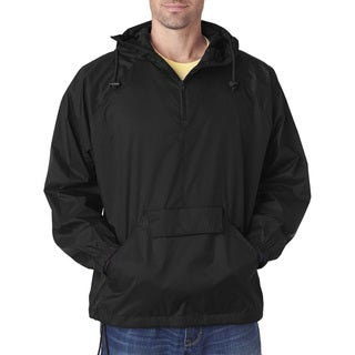 Quarter Zip Men's Big and Tall Black Hooded Pullover Pack-Away Jacket