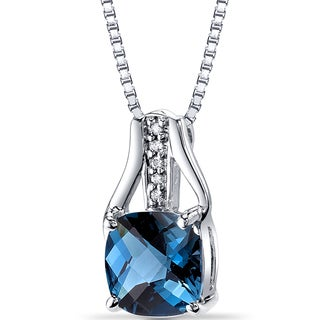 Oravo 14k White Gold 2 1/2ct TGW London Blue Topaz and Diamond Accent Pendant