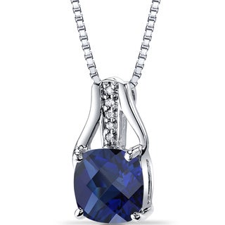 Oravo 14k White Gold Sterling Silver Created Sapphire Diamond Pendant