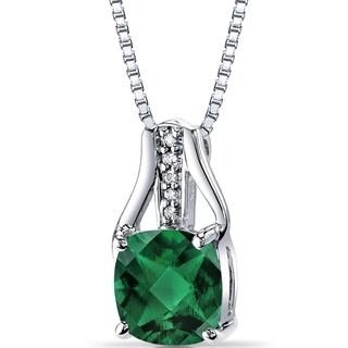 Oravo 14k White Gold Sterling Silver Created Emerald Diamond Accent Checkerboard Pendant