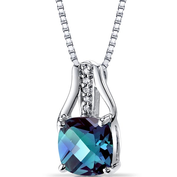 Oravo 14k White Gold 2 1/2ct TGW Alexandrite and Diamond Accent Pendant