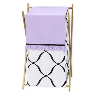 Sweet Jojo Designs Black, White, and Purple Princess Collection Wood/Mesh/Fabric 26.5-inch x 15.5-inch x 16-inch Laundry Hamper