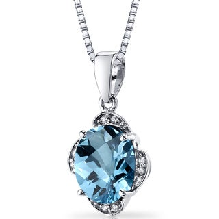 Oravo 14k White Gold 3ct TGW Oval-cut Swiss Blue Topaz with Diamond Accents Pendant Necklace