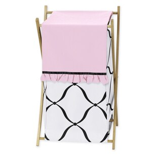 Sweet Jojo Designs Black, White, and Pink Princess Collection Laundry Hamper