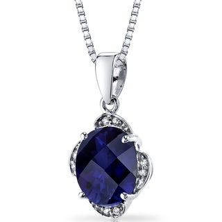 Oravo 14k White Gold Created Sapphire Diamond Accent Pendant