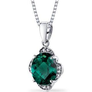 Oravo 14k White Gold Checkerboard-cut 2 1/2ct TGW Created Emerald Diamond Pendant