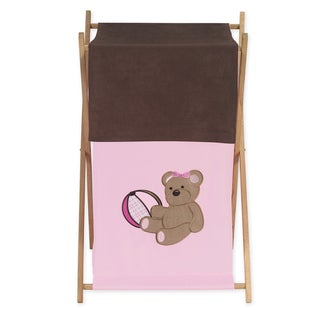 Sweet Jojo Designs Pink Teddy Bear Collection Wood/Fabric Laundry Hamper