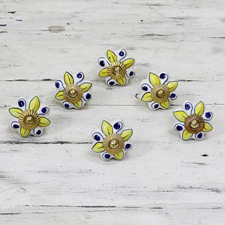Set of 6 Handcrafted Ceramic 'Bright Sunshine' Cabinet Knobs (India)