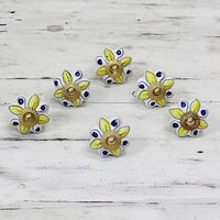 Handmade Set of 6 Ceramic 'Bright Sunshine' Cabinet Knobs (India)