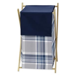 Sweet Jojo Designs Navy Blue and Gray Plaid Collection Laundry Hamper