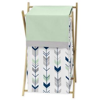 Sweet Jojo Designs Mod Arrow Collection Wood/Fabric Grey/Mint Laundry Hamper