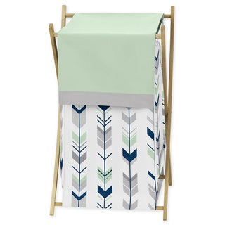 Sweet Jojo Designs Mod Arrow Collection Wood/Fabric Grey/Mint Laundry Hamper