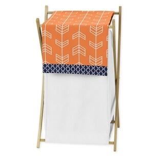 Sweet Jojo Designs Arrow Collection Orange and Navy Blue Wood/Fabric Laundry Hamper