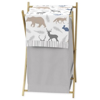 Sweet Jojo Designs Woodland Animals Collection Mesh and Fabric Wooden-frame Laundry Hamper