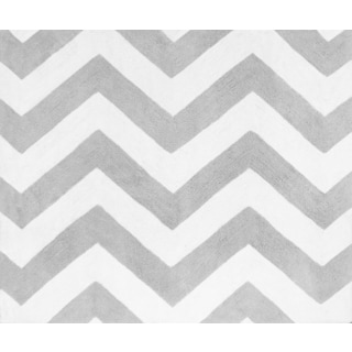 Sweet Jojo Designs Gray and Turquoise Blue Zig Zag Collection Zig Zag Print Floor Rug