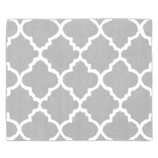 Sweet Jojo Designs Trellis Collection Grey and White Cotton Floor Rug