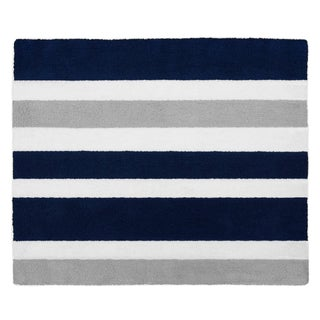 Sweet Jojo Designs Navy Blue and Grey Stripe Collection Floor Rug
