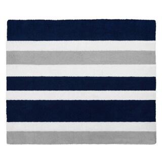 Sweet Jojo Designs Navy Blue and Grey Stripe Collection Floor Rug