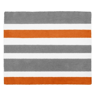 Sweet Jojo Designs Gray and Orange Stripe Collection Floor Rug