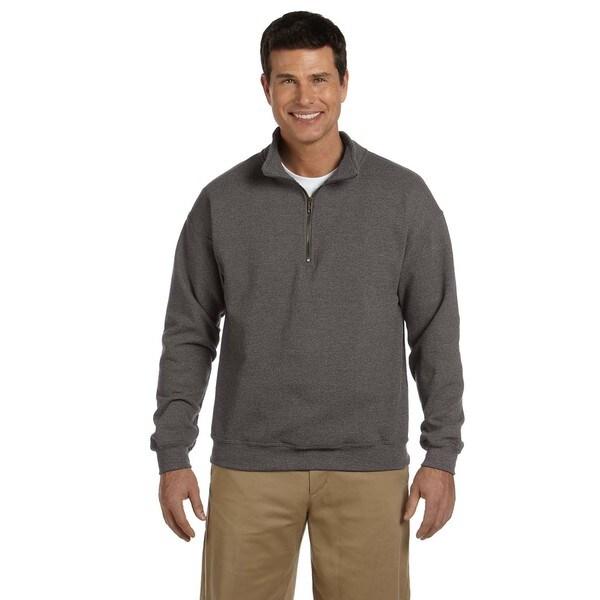 Mens Vintage Classic Quarter-Zip Cadet Collar Tweed Sweatshirt (XL)