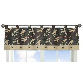 Sweet Jojo Designs Green Camo Collection Tab-top Window Curtain Valance