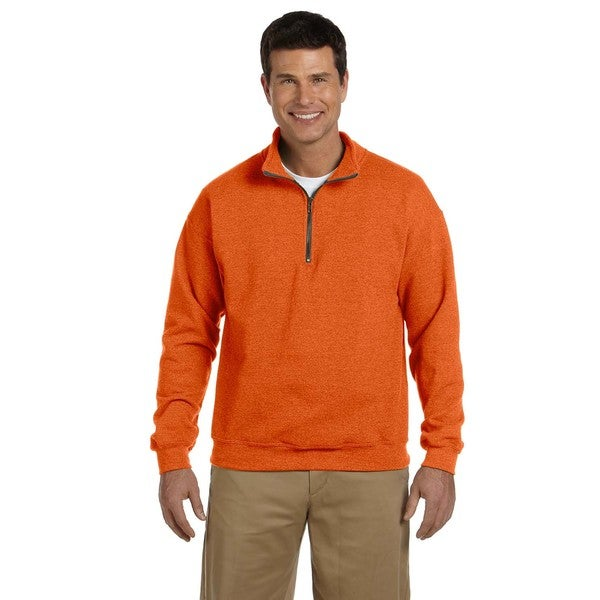 Mens Vintage Classic Quarter-Zip Cadet Collar Orange Sweatshirt