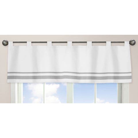 Sweet Jojo Designs White and Gray Hotel Collection Window Curtain Valance