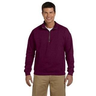 Men's Vintage Classic Quarter-Zip Cadet Collar Maroon Sweatshirt