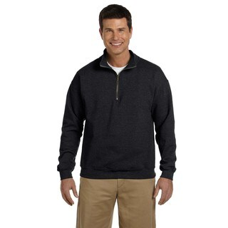 Men's Vintage Classic Quarter-Zip Cadet Collar Black Sweatshirt