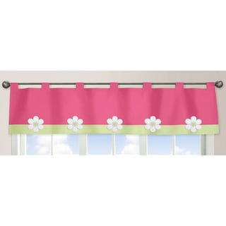 Sweet Jojo Designs Pink and Green Flower Collection Window Curtain Valance