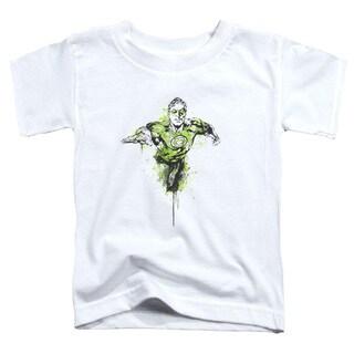Green Lantern/Inked Short Sleeve Toddler Tee in White