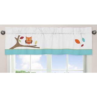 Sweet Jojo Designs Turquoise and Lime Hooty Collection Window Curtain Valance