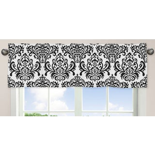 Sweet Jojo Designs Hot Pink, Black, and White Isabella Collection Damask Print Window Curtain Valance