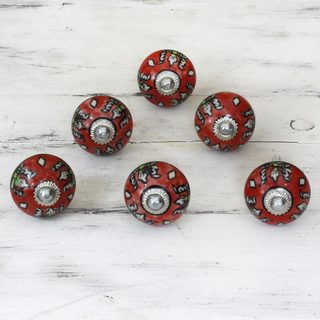 Set of 6 Handmade Ceramic 'Charming Red Flowers' Cabinet Knobs (India)