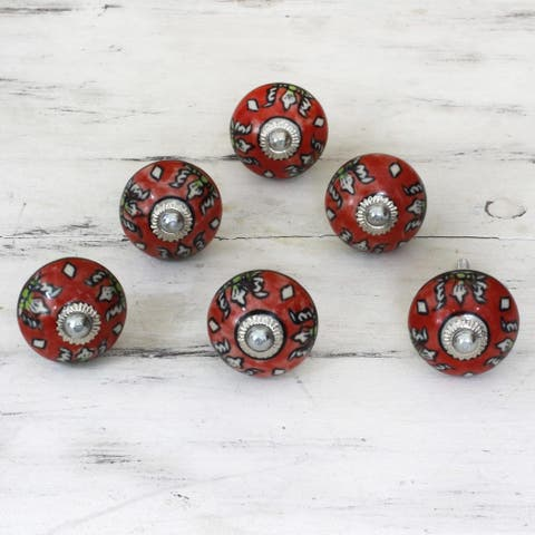 Set of 6 Handmade Ceramic 'Charming Red Flowers' Cabinet Knobs