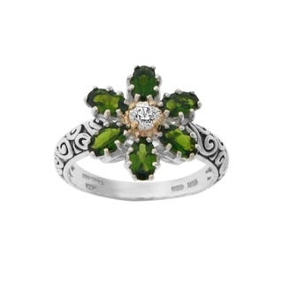 Meredith Leigh Sterling Silver & 14kt Gemstone Flower Ring