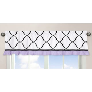Sweet Jojo Designs Black, White and Purple Princess Collection Window Curtain Valance